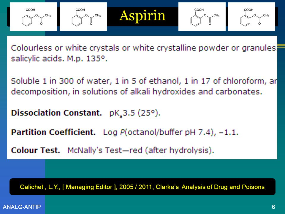Aspirin Galichet , L.Y., [ Managing Editor ], 2005 / 2011, Clarke's Analysis of Drug and Poisons.